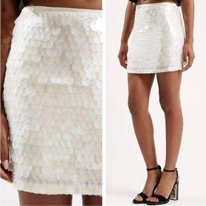 NWT Topshop White Iridescent Sequin Skirt